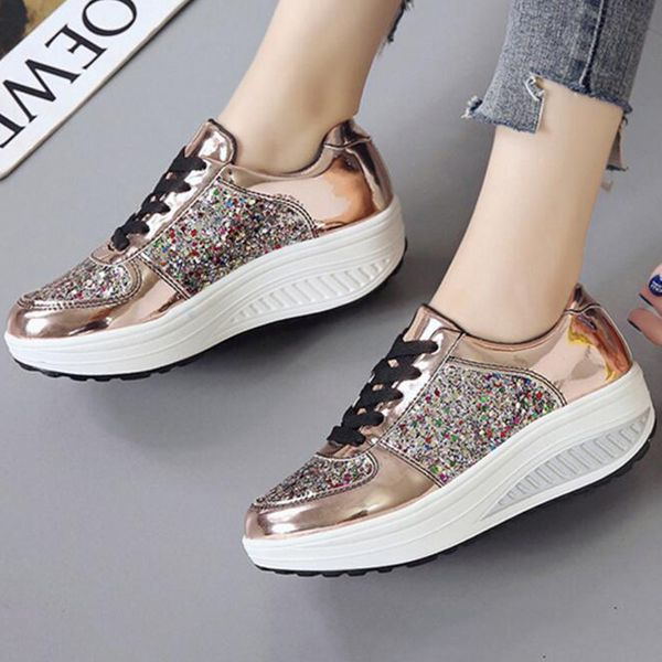 Women's Rhinestone Lace-up Flats Flat Heel Sneakers (1625450524, White;silver;gold