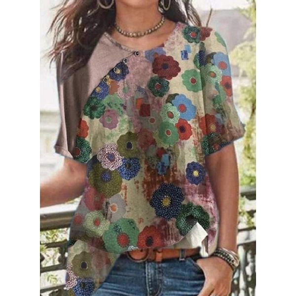 FloryDay / Floral Casual Round Neckline Short Sleeve Blouses (1645601918)