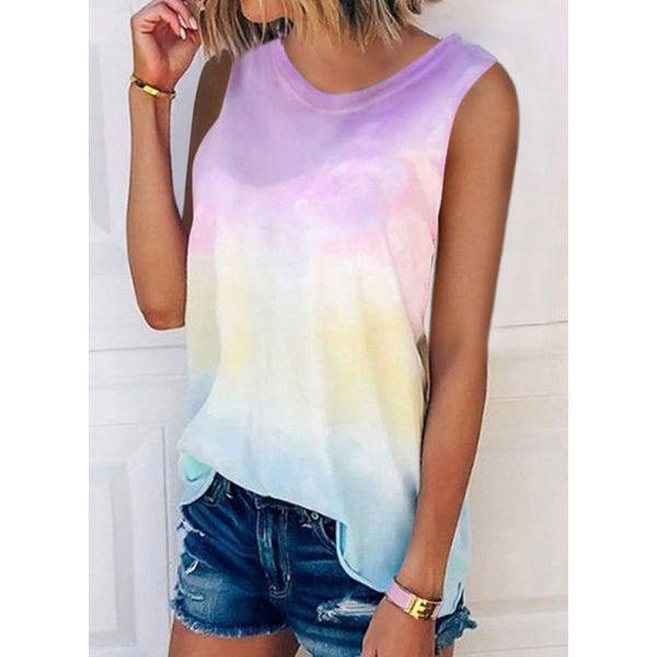 Airycloth coupon: Color Block Round Neck Sleeveless Casual T-shirts (1685590273)