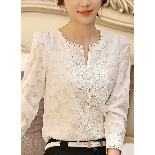 FloryDay / Solid Casual Round Neckline Long Sleeve Blouses (1645195486)