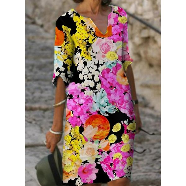Casual Floral Tunic V-Neckline A-line Dress (1955619610, White