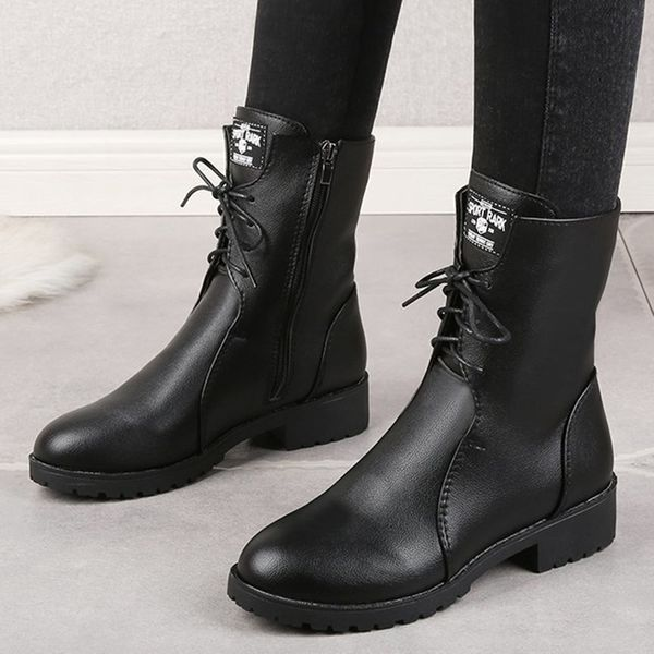 FloryDay / Women's Lace-up Mid-Calf Boots Leatherette Low Heel Boots (1625677199)
