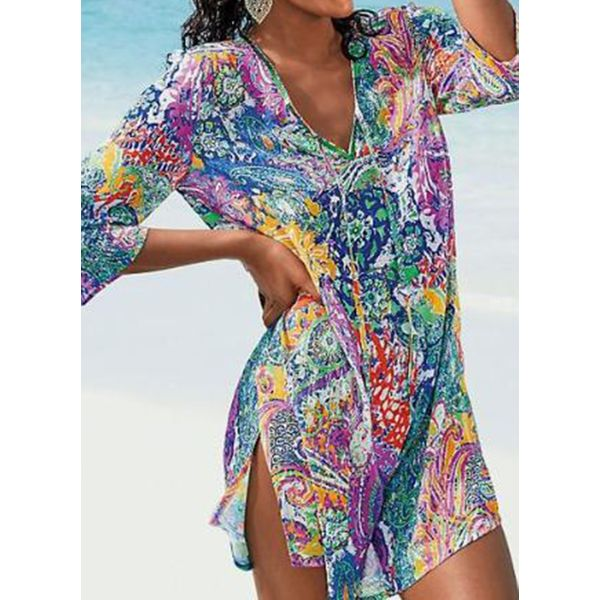 Airycloth coupon: Polyester Color Block Cover-Ups Swimwear (30015553273)