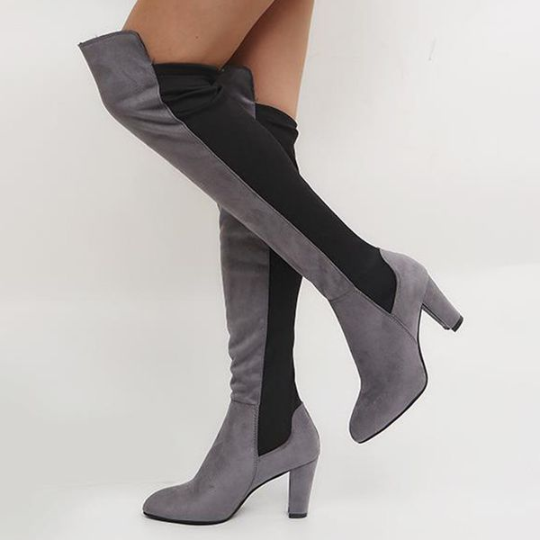 Women's Over The Knee Boots Cloth Chunky Heel Boots (1625442454, Black;gray;burgundy