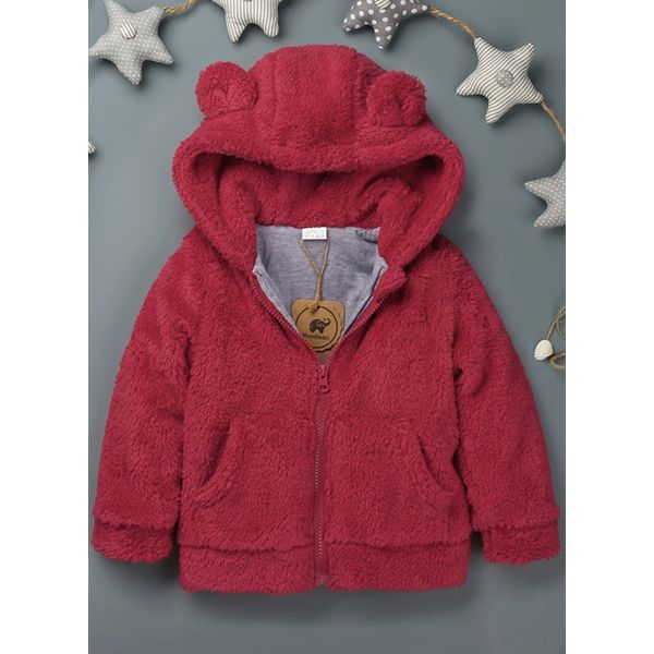 Girls' Cute Solid Hooded Coats (30235443714, Red