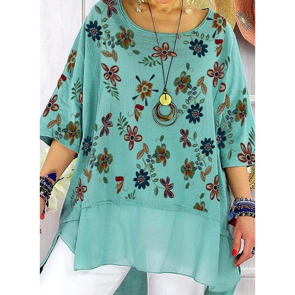 Plus Size Floral Round Neckline Casual Shift Blouses 3/4 Sleeves Plus Blouses (30355780140), FloryDay, Green, Apparel & Accessories, Clothing  - buy with discount
