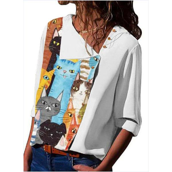 FloryDay / Character Casual V-Neckline Half Sleeve Blouses (1645629698)