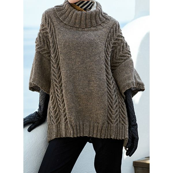 High Neckline Solid Loose Regular Shift Sweaters (1675452390, Coffee