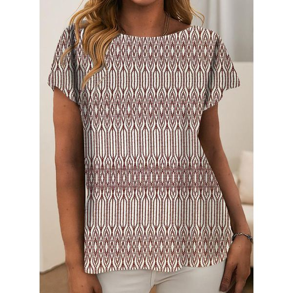 Geometric Round Neck Short Sleeve T-shirts (1685791171) - Red / S, FloryDay, Apparel & Accessories, Clothing, Shirts & Tops  - buy with discount