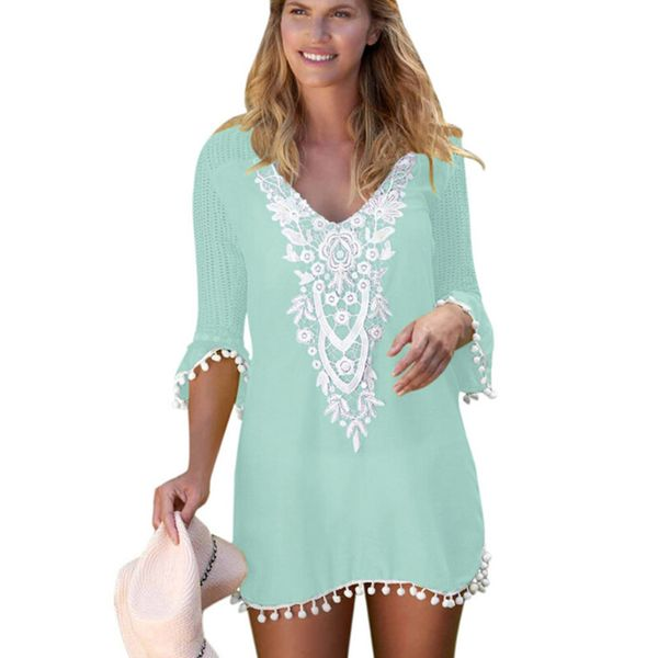 Color Block Cover-Ups Swimwear (30015376543, White;pink;green