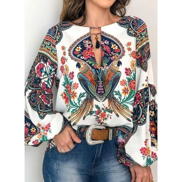 Airycloth coupon: Floral Casual Round Neckline Long Sleeve Blouses (1645470709)
