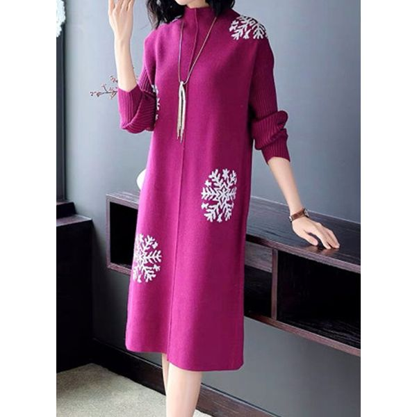 Casual Floral Tunic Round Neckline Shift Dress (1955482348, Blue;green;rose;purple;coffee