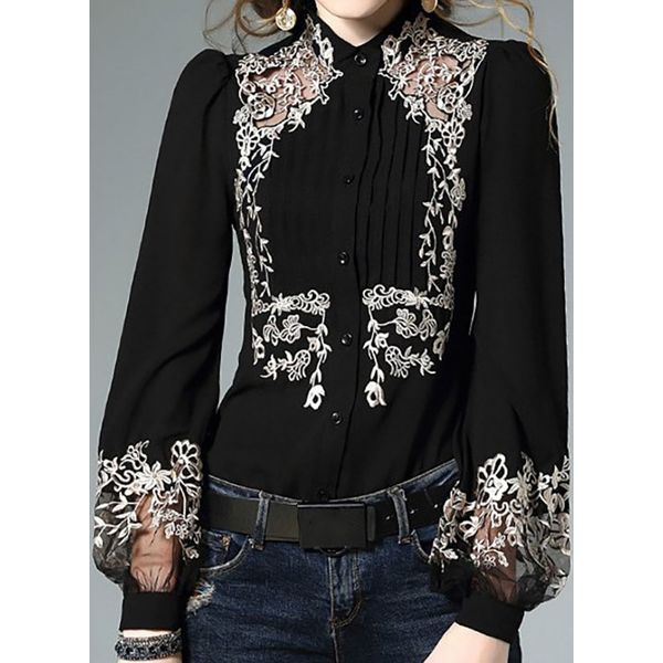 Airycloth coupon: Floral Elegant High Neckline Long Sleeve Blouses (1645606991)