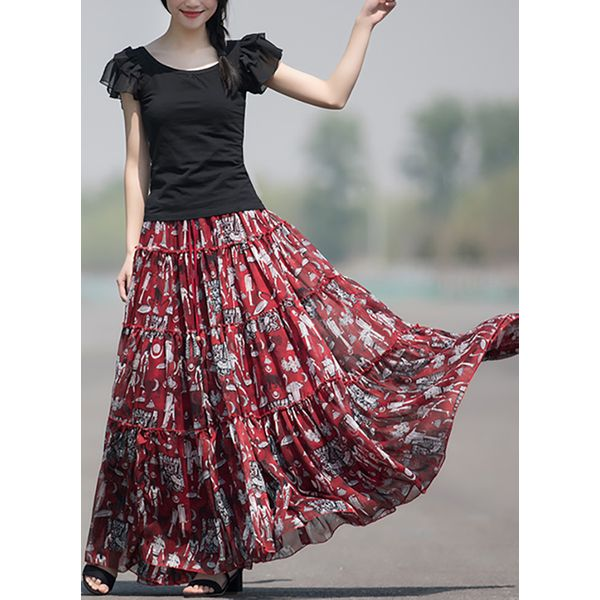 Floral Maxi Vintage Pattern Skirts (1725377950, Red
