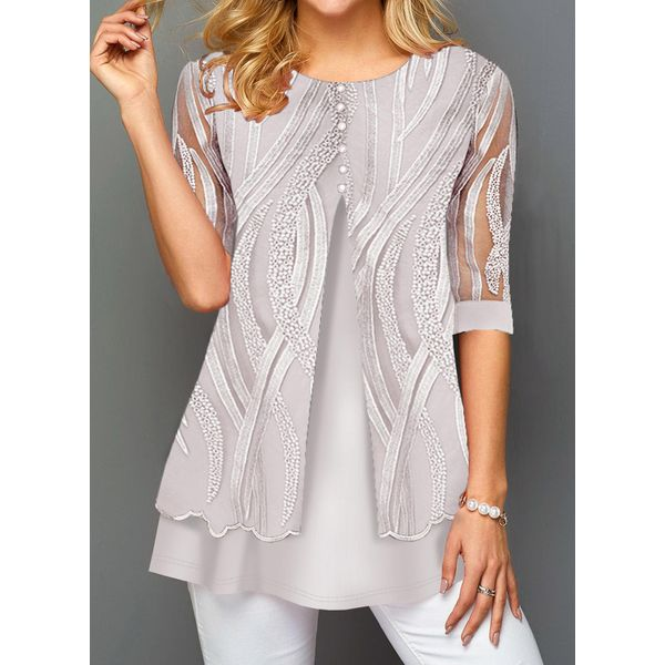 FloryDay / Solid Round Neckline Casual Shift Blouses 3/4 Sleeves Plus Blouses (30355480491)