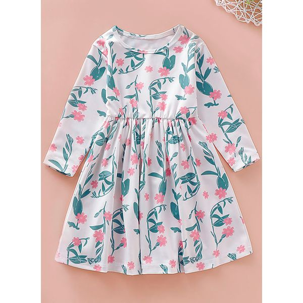 Girls' Sweet Floral Going Out Long Sleeve Dresses (30135436278, White