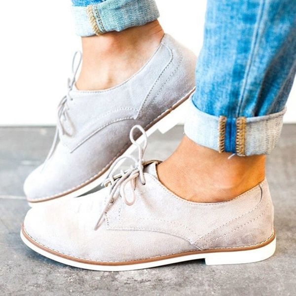Lace-up Flats Flat Heel Shoes (1625379888, Gray
