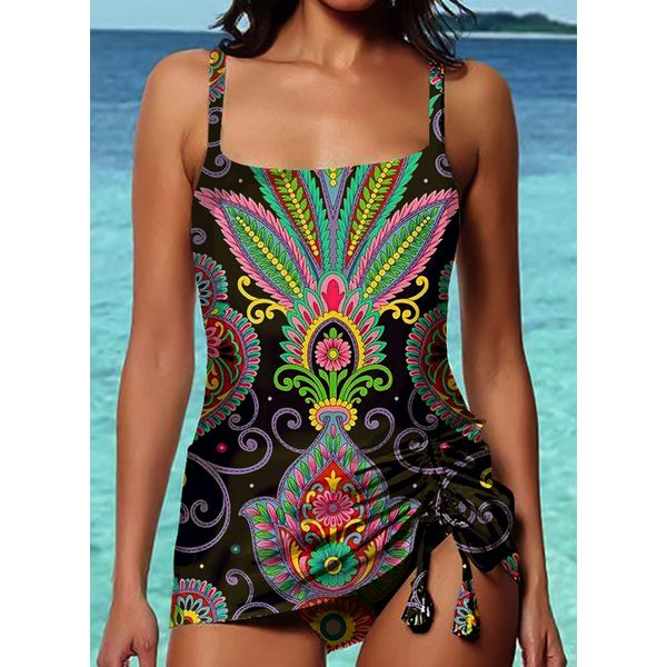 Airycloth coupon: Polyester Knotted Floral Tankinis Swimwear (30015594203)