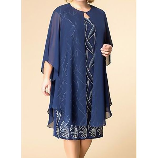 Airycloth coupon: Floral Tunic Round Neckline Knee-Length Shift Dress (1955607701)