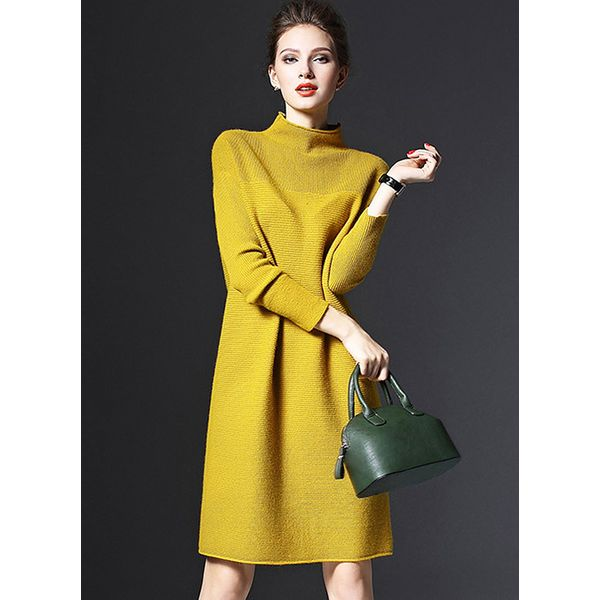 Airycloth coupon: Casual Solid Others High Neckline Shift Dress (1955200289)