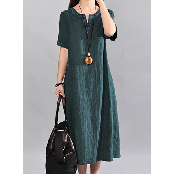 Airycloth coupon: Chinese Casual Solid Round Neckline Midi Shift Dress (1955607686)