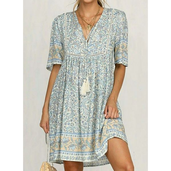 Airycloth coupon: Casual Floral Tunic V-Neckline A-line Dress (1955577372)