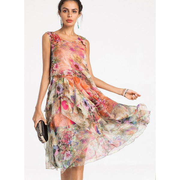FloryDay / Floral Sleeveless Knee-Length A-line Dress (01955248653)