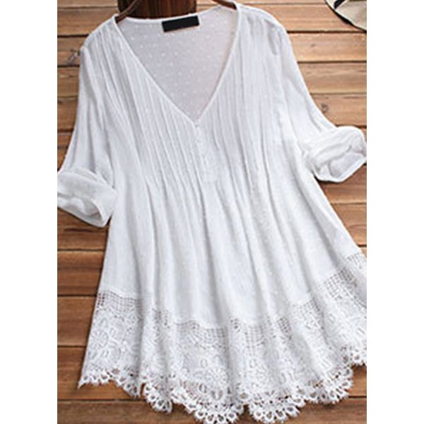 Airycloth coupon: Plus Size Solid Casual V-Neckline Long Sleeve Blouses (30355554788)