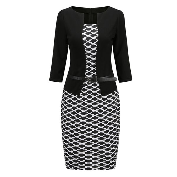 Stripe Sashes Pencil Square Neckline Bodycon Dress (1955463673, Black
