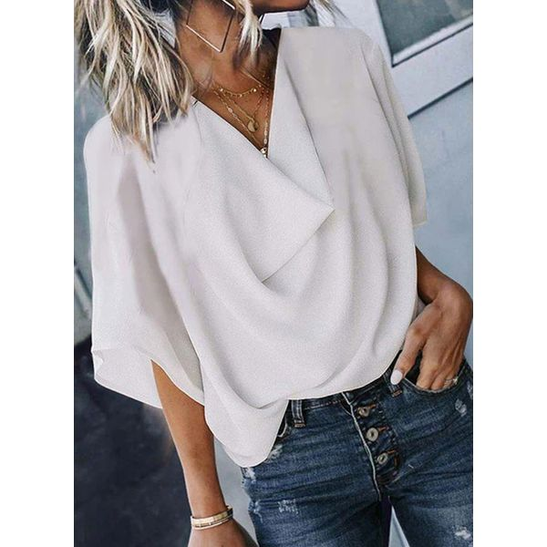 Airycloth coupon: Solid Casual Draped Neckline Half Sleeve Blouses (1645605080)