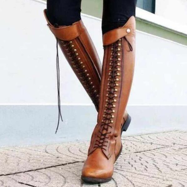 Women's Buckle Lace-up Knee High Boots Low Heel Boots (1625454238, Brown