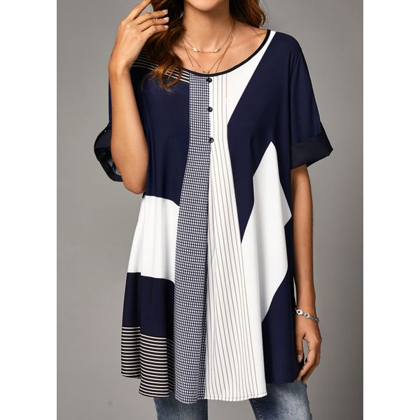 Airycloth coupon: Color Block Casual Round Neckline Long Sleeve Blouses (1645607290)