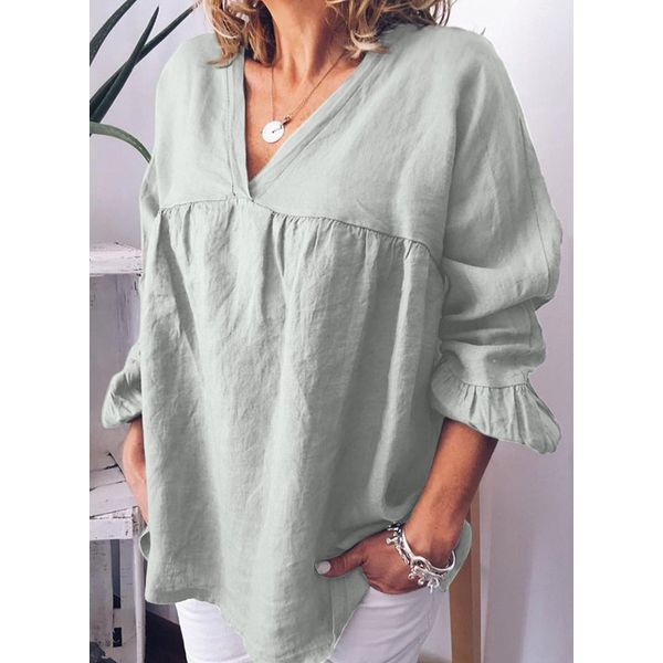 Plus Size Solid V-Neckline Casual Shift Blouses Long Sleeve Plus Blouses (30355459709, Green;gray;purple;khaki