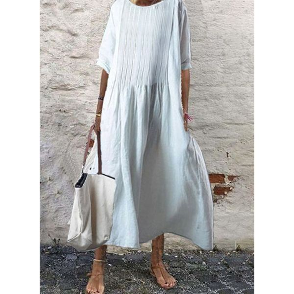 Airycloth coupon: Casual Solid Round Neckline Midi Shift Dress (1955607857)