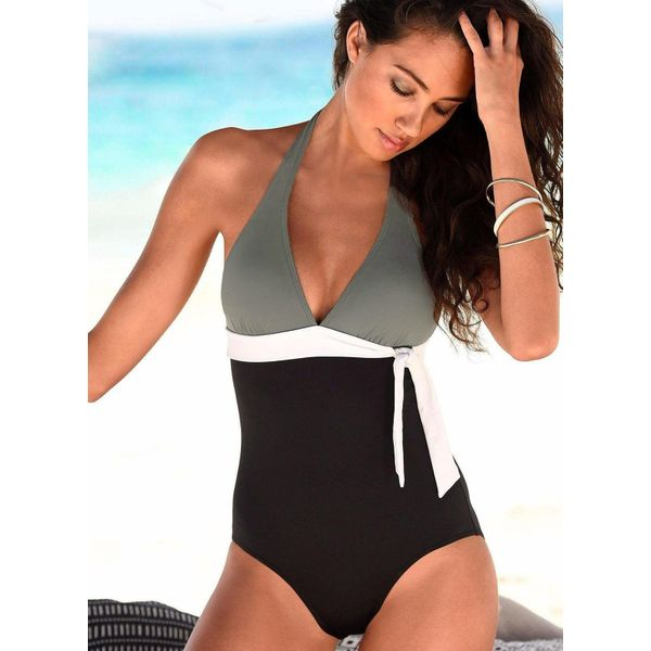 Polyester Halter Color Block Knotted One-piece Swimwear (30015397670, Black