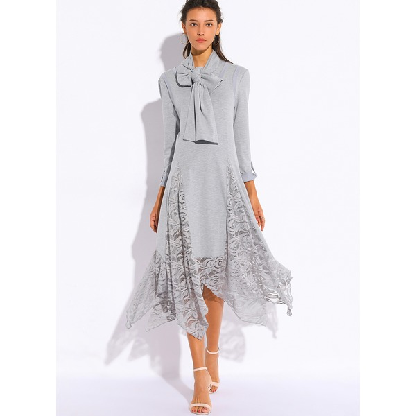 Solid Lace Half Sleeve High Low A-line Dress (01955209314, Gray