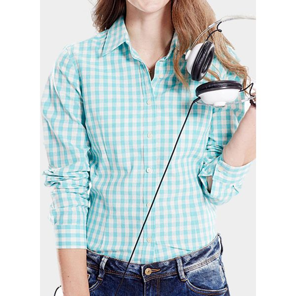 Check Casual Collar Long Sleeve Blouses (1645469396, Blue