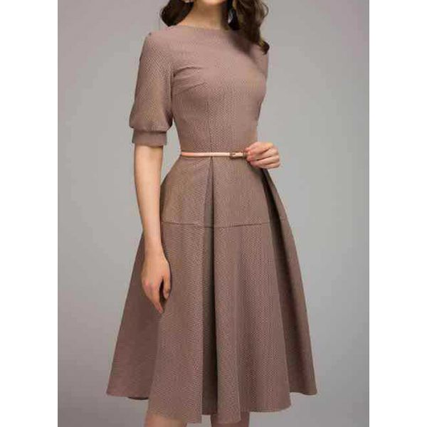 Casual Solid Round Neckline Midi X-line Dress (1955520173), FloryDay, Pink, Silver, Coffee, Apparel & Accessories, Clothing, Dresses  - buy with discount