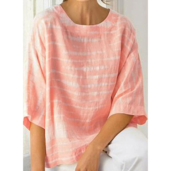 Color Block Casual Round Neckline 3/4 Sleeves Blouses (1645584258, Orange;pink;sky blue;yellow