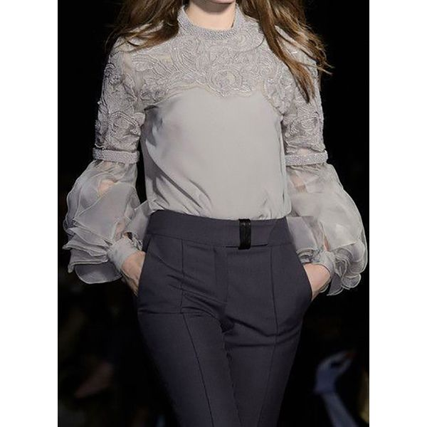 FloryDay / Solid Casual Round Neckline Long Sleeve Blouses (1645543639)