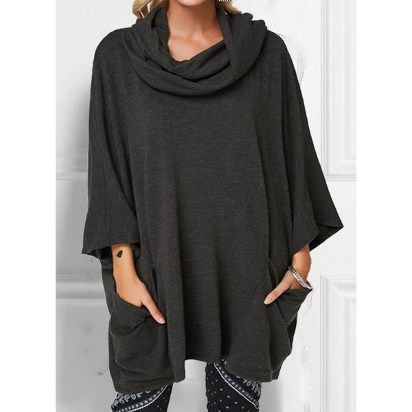 FloryDay / Solid Draped Neckline Casual Shift Blouses Long Sleeve Plus Blouses (30355480494)