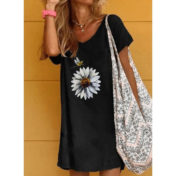 Airycloth coupon: Casual Floral Tunic V-Neckline Shift Dress (1955588960)