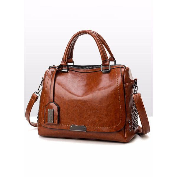 Tote Fashion Studded Double Handle Bags (1825415860, Black;burgundy;brown
