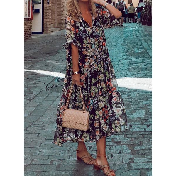 Airycloth coupon: Casual Floral Tunic V-Neckline Shift Dress (1955601885)