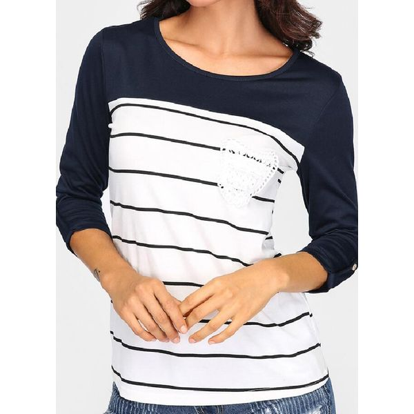 Stripe Round Neck Long Sleeve Casual T-shirts (1685480539, White