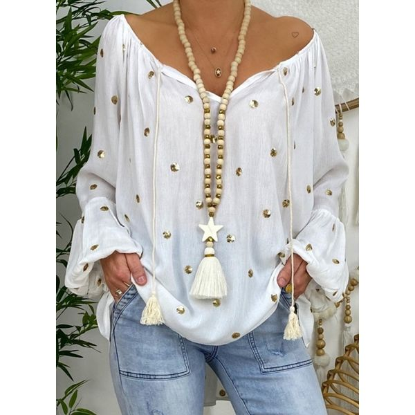 Airycloth coupon: Plus Size Polka Dot Casual V-Neckline Long Sleeve Blouses (30355587901)