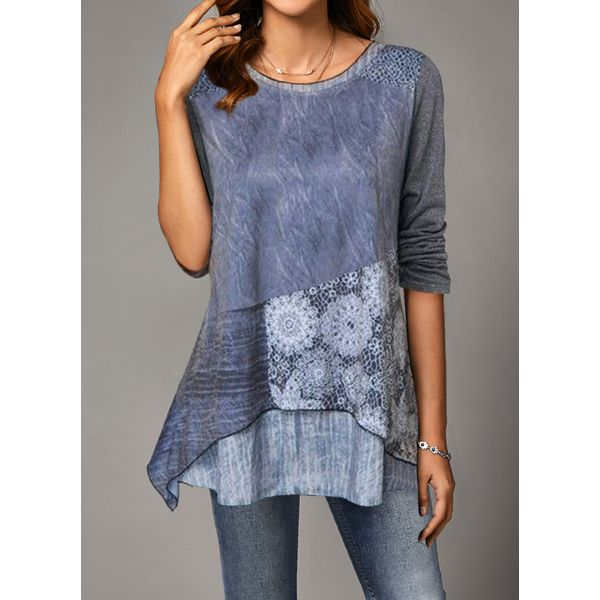 Airycloth coupon: Plus Size Floral Casual Round Neckline Long Sleeve Blouses (1645607315)