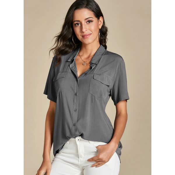 Solid Collar Short Sleeve Blouses (01645388564) - Gray / L, FloryDay, Apparel & Accessories, Clothing  - buy with discount
