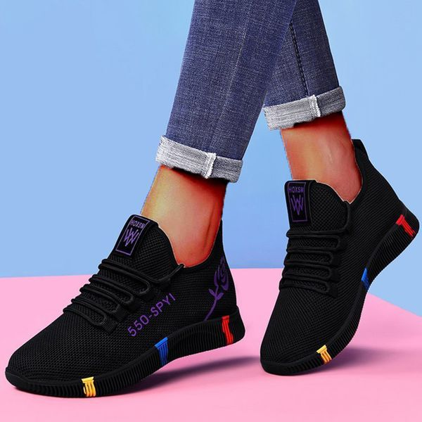 FloryDay / Women's Lace-up Low Top Fabric Cloth Flat Heel Sneakers (1625658437)