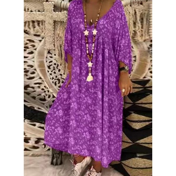 Casual Floral Tunic V-Neckline A-line Dress (1955597027, Blue;green;khaki;red;dark blue;yellow;purple;serpentine